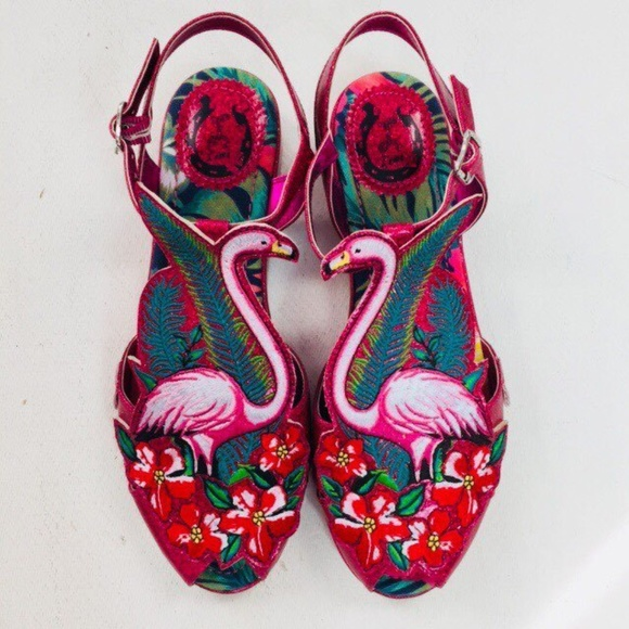 59deb3c06cd Miss L Fire Sandals Flamingo Ankle Strap Pink Red.  M 5a85290a2ae12f306a0f0c5f